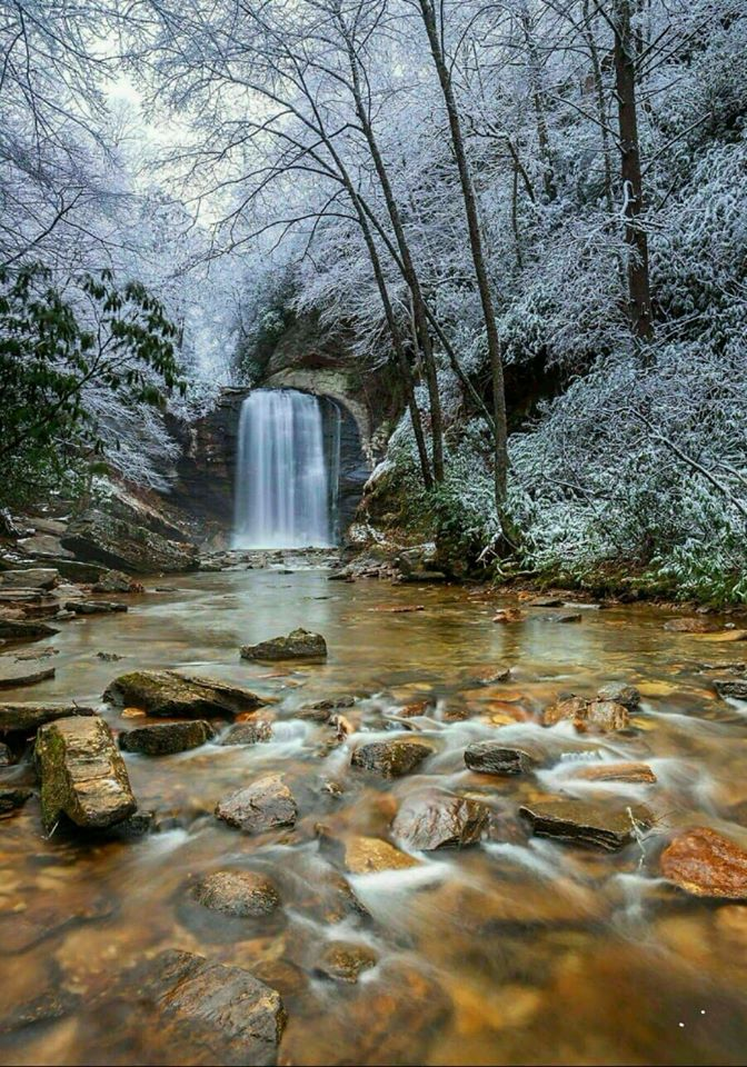 Looking Glass Falls in winter in Pisgah National Forest.